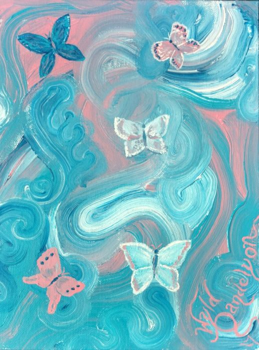 An acrylic painting of pink, blue, and white-trending butterflies on a field of thick whorled paint in blues and pinks and whites.
