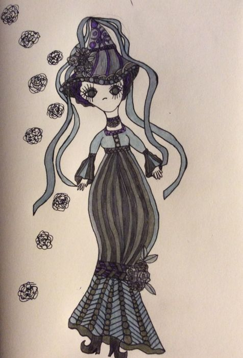 An elongated and stylized human figure with a simplistic face of eyes and mouth only faces the viewer in a long black dress with an Empire waist and a striped skirt. The skirt is gathered at the figure's shin with a black band adorned with black roses. A pointed hat sits on her head, adorned with black roses and trailing black ribbons. Black roses float in the background.