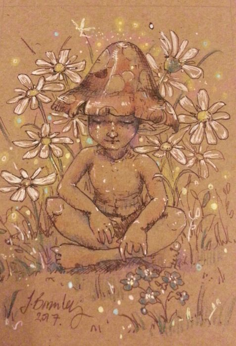 A miniature humanoid creature resembling a plump child sits facing the viewer among white flowers, his eyes closed. He's wearing a mushroom cap for a hat, and magical lights dance around him. Drawn on brown paper with limited colors.