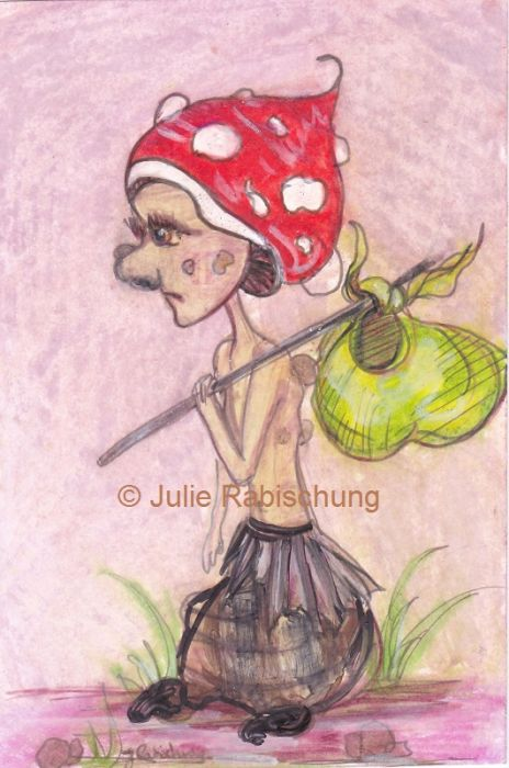 A colorful illustration of a diminutive, skinny humanoid being with a mushroom cap for a hat and a bindle over their shoulder, walking to the left through sparse grass.