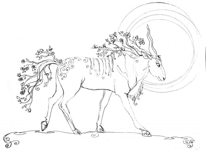 A barrel-chested antelope walks to the right. Its mane and tail are flowering branches, and the sun burns in the distance beyond the antelope's head making a sort of halo. Decorative lines and whorls adorn the antelope's back.