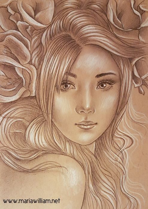 A bust of a woman on brown-toned paper, she faces the viewer with hair unbound - bangs fall over her right eye; she has tilted eyes and a small mouth and her head is surrounded by vague flowers filling the upper background of the paper.