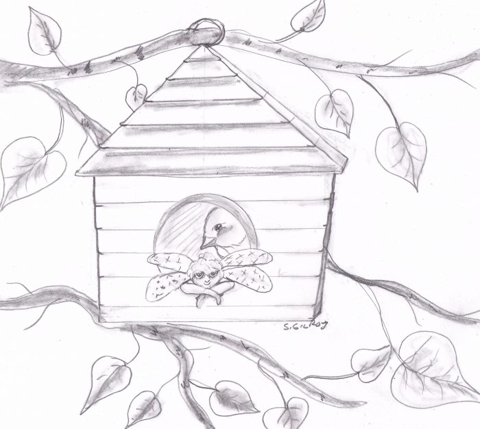 A simple birdhouse composed of a square with a triangle roof hangs suspended from one branch with two other branches bearing leaves visible in the background. A fairy rests her elbows on the doorway, staring out at the viewer while a bird likewise peers out from behind her.