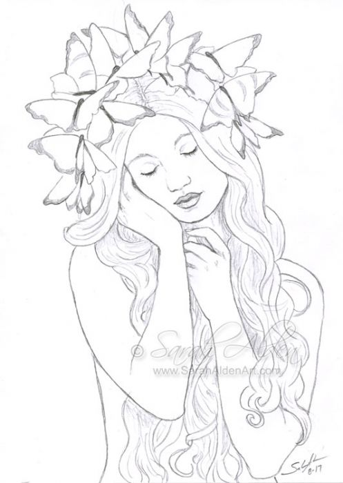 A black and white sketch of a woman facing the viewer, depicted from waist up. Her waves of long hair obscure her torso, and she holds her hands in front of her, resting her face on her right hand. Her head is tilted to the viewer's left, her eyes are closed, and she is crowned with perhaps a dozen butterflies.