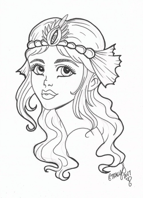 A black and white illustration: a mermaid faces the viewer, head turned to the left and her shoulder in view; long tresses are held back from her face with a headdress of pearl and shell and fin.