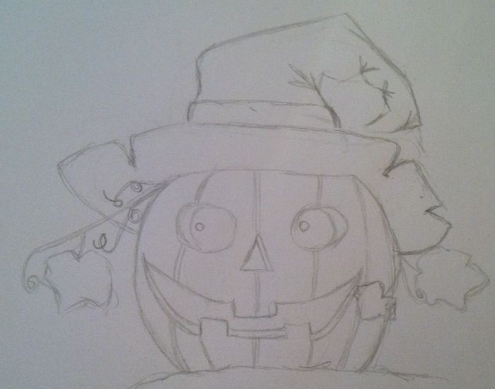 A pencil sketch of a jack o'lantern. The pumpkin faces the viewer, though its eyes appear to look to the viewer's left. The jack o'lantern is wearing a witch's hat with the pointed tip curling to the viewer's right. The pumpkin also features a leafy vine curling to the viewer's left.