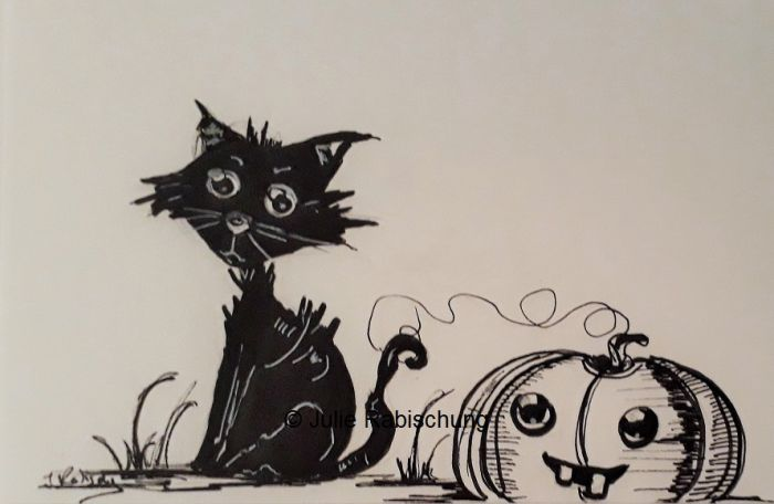 A raggedy black cat stares out at the viewer next to a grinning, bucktoothed jack o'lantern. The illustration is a black ink sketch on white paper.