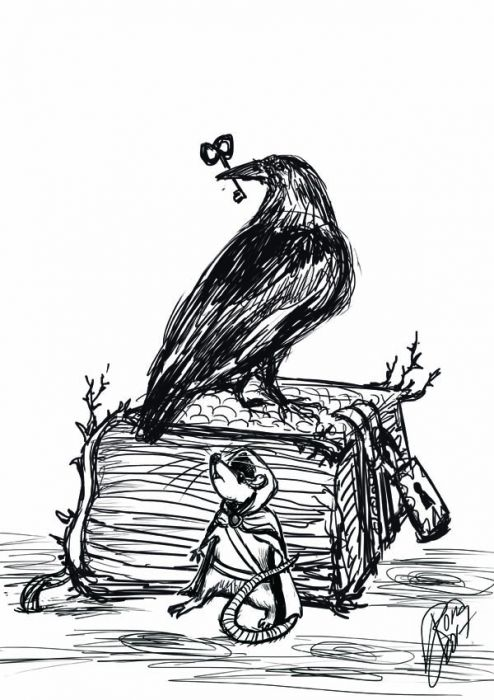 A fat tome of a book sits on a vague background in this ink sketch on white paper. The book is padlocked; a crow sits on top of the book, back to the viewer and its head looking to the viewer's left. The crows holds a key in its beak. A mouse standing upright on its hind legs and wearing a hooted cloak and some type of baldric presses its back to the book (which is taller than it is), looking apprehensively up toward the crow above.