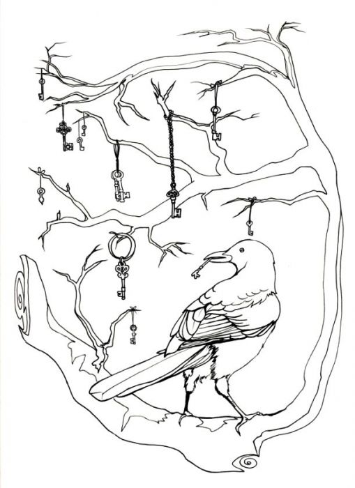 A set of branches curves in an backwards E shape, supporting a magpie on the lowest branch. The magpie's back is to the viewer, and it looks over its shoulder to the viewer's left. The magpie holds a small key in its beak. 11 keys of various ornateness and sizes dangle from ribbon and chains and rings from various branches. Ink drawing.