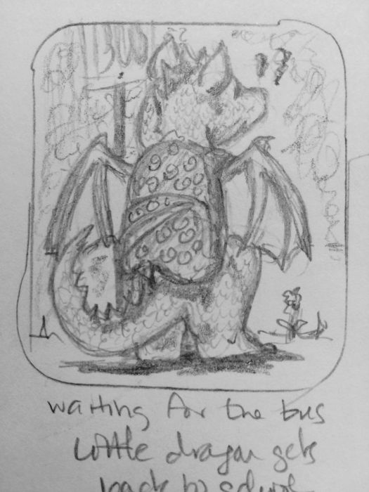 Rough sketch. A kid-sized dragon faces away from the viewer, standing on two legs and wearing a backpack patterned with circular squiggles. There's the suggestion of flowers around its feet, and a bus stop sign in front of it.