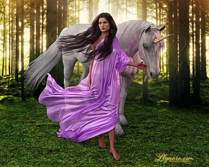 A Photoshopped collage - a brunette with free flowing hair is walking through a forest clearing toward the viewer, with one foot forward. She looks to the viewer's left, and her left hand reaches out to almost cup the chin of a unicorn trailing behind her. The woman is wearing a flowing and silken purple garment. The forest floor is verdant; light slopes through the thin trees in the background.