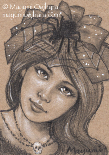 A woman tilts her head to the viewer's right, staring boldly out of the illustration. She wears an elaborate layered bow of light-flecked ribbon, crowned with a spider web and a large black spider crouching over it. The woman also wears a short necklace composed of two strands of black bears with a large skull bead centered. Her hair falls in waves about her shoulder and the hint of a black garment at the bottom of the illustration where her chest begins. Graphite, white charcoal, and white acrylic paint on tan paper.