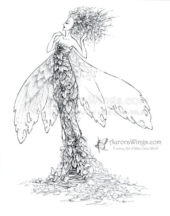 A slender fairy woman poofs her tangled and leaf-strewn hair with one hand while her other hand curls back to touch her bare shoulder. Her fitted gown is made of autumnal leaves and accented with berries. The fairy has moth-like wings, four lobes relaxed in partial extension around her. Mushrooms litter the suggestion of ground about her gown-hidden feet. Ink sketch in progress.
