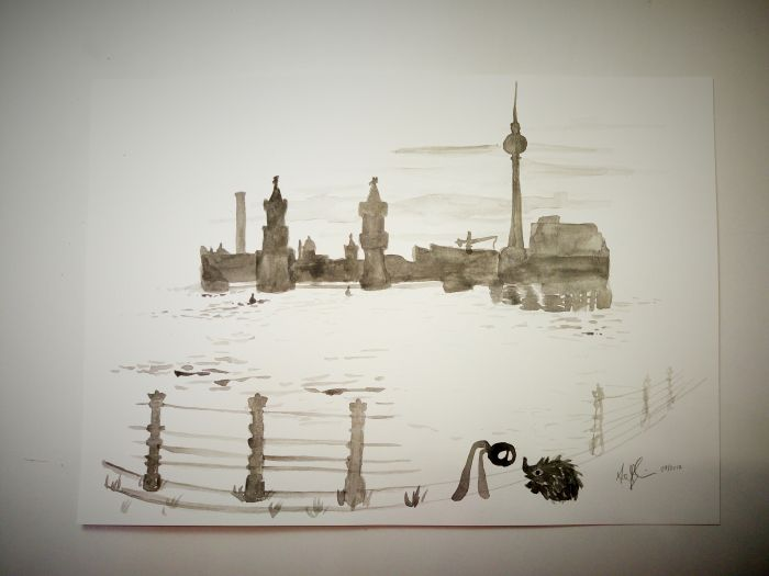 A black blob with white eyes and two lighter grey appendages as legs stares curiously down at a hedgehog next to the suggestion of a railing before some type of waterway, with a city skyline in the background. All in watery black almost sumi-e type painting.