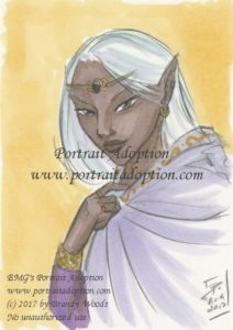 An elf with dark skin and long white hair occupies the right 2/3rds of the image, turned toward the viewer. Her right arm holds a white cloak with edging of golden embroidery closed at her throat; the sleeve depicted on her right arm is purple with a golden cuff. She wears a diadem of gold with a dark center-set jewel. Her eyes are tilted, and a subtle smile plays on her lips. The background is painted pale gold.