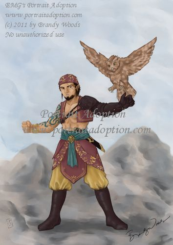 A full figure stands against a soft background of mountainous brown-grey terrain and a blue-white sky. He stands with feet spread and arms held aloft. A brown owl is just alighting on the figures left arm. He faces the viewer; his left arm is covered with a baldric and arm-length glove. His right arm is bare, as is much of his smooth chest. He wears a short cropped purple vest, a teal cloth belt gathered by a gold center buckle over draped purple cloth with golden detailing in a thick edge over bagg golden pants tucked into knee-high brown boots. He also wears a purple bandana with golden detailing over his dark hair. He has a scarred face, the line running over his left eye. He bears a serious expression, and a partially open mouth. His facial hair is dark, and sort of an extended goatee out to the sides.