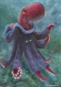 A mottled red octopus faces away from the viewer, looking back at the viewer, wearing a many-armed grey-blue coat. The background is an impression of sea greens and blues.