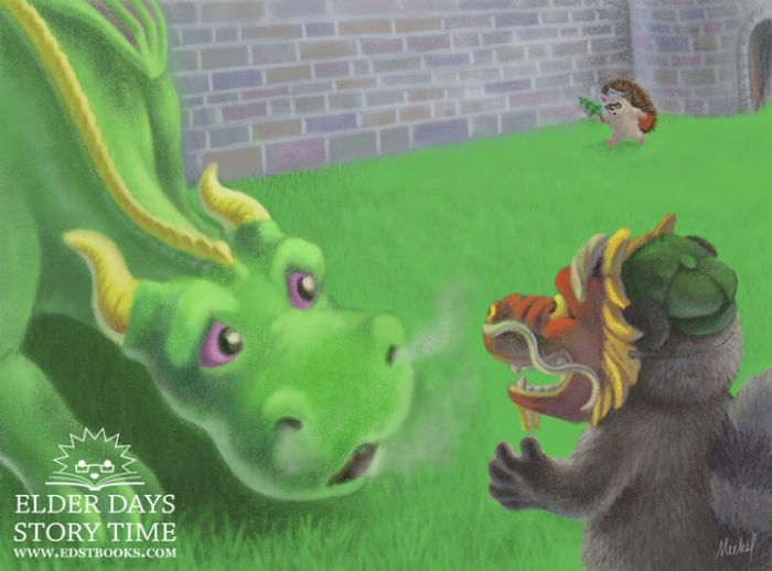 A friendly rounded green dragon with gold horns and purple eyes  faces a masked tanuki and looks surprised. Smoke curls from the dragon's nostrils and open mouth. The tanuki is facing away from the viewer in the foreground, wearing a green hat on his brown and black furry body. He also wears a red Chinese-esque dragon mask with gold accents. In the background is a green lawn,  brick wall, and Lorelai the hedgehog hurrying toward the dragon and tanuki while holding a red book.
