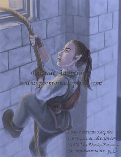A humanoid figure of small stature with pointed ears climbs a rope up a brick wall to an open window barely in frame in the upper left. Light spills from the open window. The figure is wearing green, brown, and white adventurer clothes. It is night.